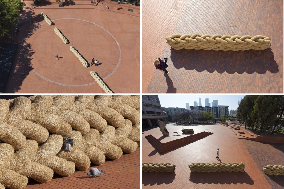 Straw wattles - aka straw worms, bio-logs, straw noodles, or straw tubes – are tubes of dried rice straw. Configurations of wattles were laid across Noguchi Plaza, creating a juxtaposition of natural material objects against a canvas of manmade constructs.