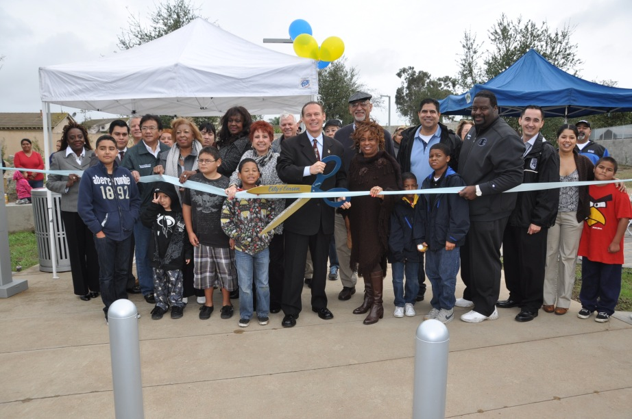 Photo: Opening Day ribbon cutting celebration for Reflections Mini Park  in Carson, California.
