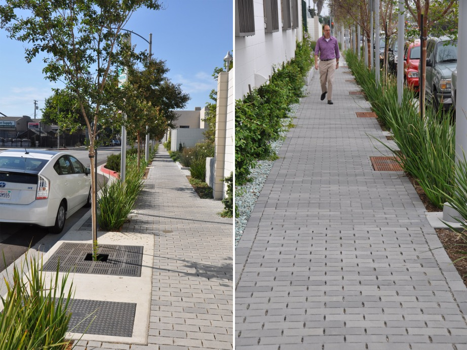 Permeable interlocking pavers installed within a public sidewalk at the City of Burbank, Lake Street. Credit AHBE Landscape Architects, Ackerstone (Manufacturer)