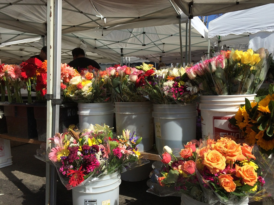 farmers market flower buckets
