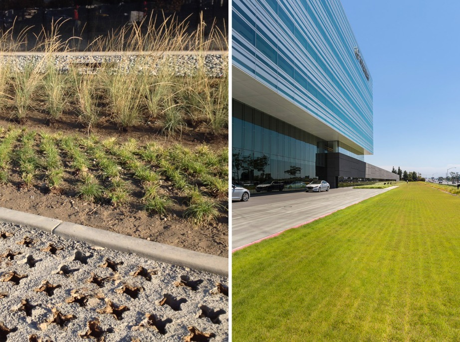 Pervious concrete system installed in a designated fire lane in lieu of traditional concrete or asphalt vehicular paving at Hyundai Headquarters, Fountain Valley. Credit: AHBE Landscape Architects, Photography by Brian Mitchell and Heliphoto