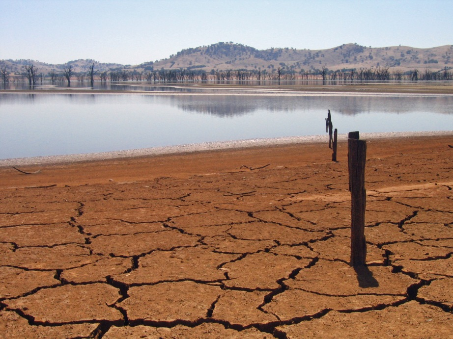 Photo: The cracked and parched Lake Hume reservoir bed in Victoria.