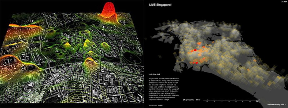 Image 1: Street map of Graz, Austria mapping people by cellphone usage. Image 2: Real time talk Singapore mapped in attempt to understand patterns of use of public space (both images courtesy: Sensible City Lab MIT)