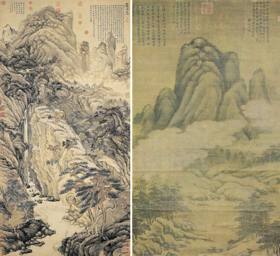 Left: A shan shui painting by Ming Dynasty artist Shen Zhou, 1467; Right: A painting by Yuan Dynasty artist Gao Kegong (1248–1310)