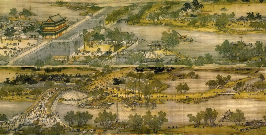 "Details of a Qingming scroll depicting ""Along the River During Qingming Festival"""