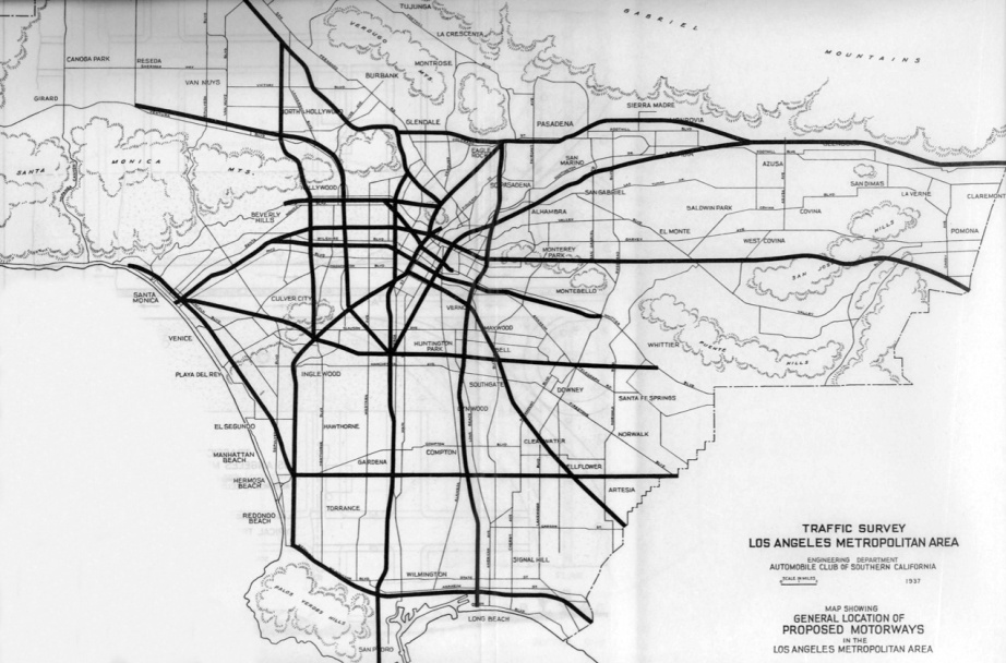 Map showing proposed freeway routes through Los Angeles County. From the Automobile Club of Southern California's Traffic Survey, 1937. Courtesy of the Metro Transportation Library and Archive/