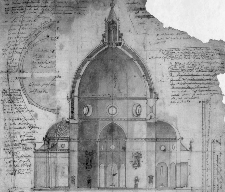 A drawing of Filippo Brunelleschi's Dome, Florence Cathedral, Florence Duomo