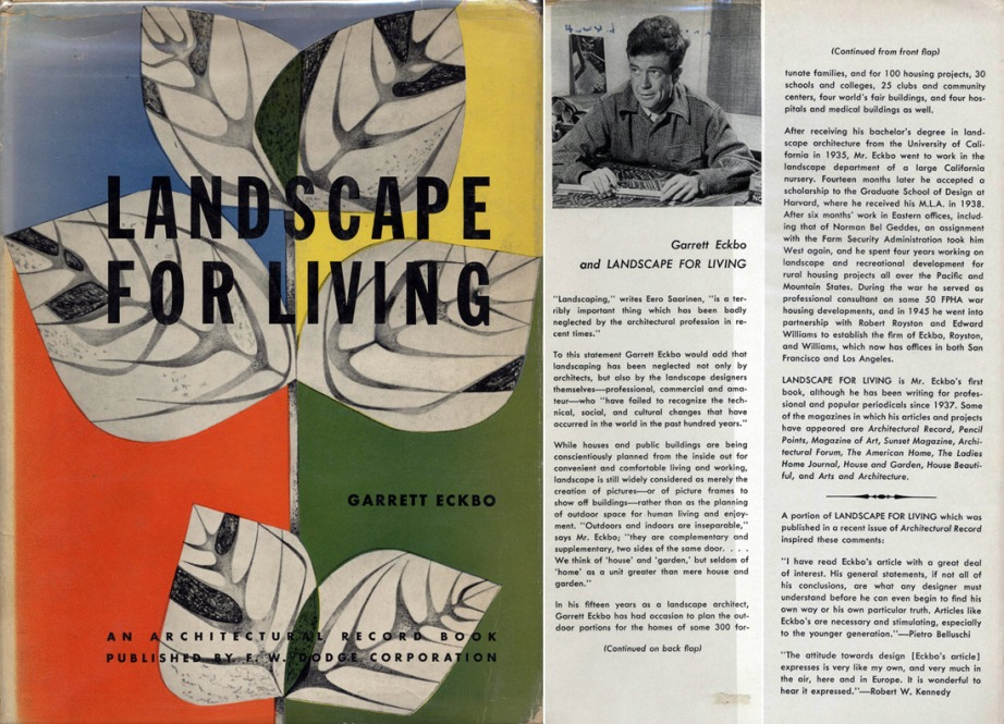 """Garrett Eckbo defined the modern landscape architecture discipline when he wrote this book in 1950. Here's a look at it's original cover and the inside front and back flaps."" - via the Modernica Blog"