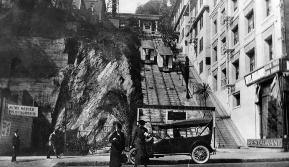 On a related historical note,  Angels Flight had a lesser known (yet steeper_ counterpart, the Court Flight. More about it at On Bunker Hill.