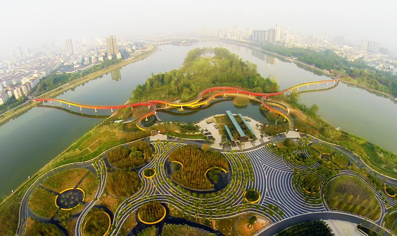 A resilient landscape designed by Chinese government backed, Turenscape: Yanweizhou Park in Jinhua City