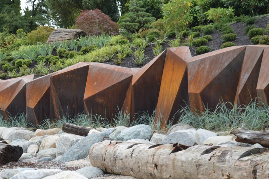 Metamorphous is a sculptural seawall structure by Paul Sangha Landscape Architecture, a 200-foot-long piece of public art protecting coastline homes along the English Bay coastline.