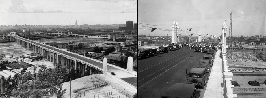 Photos of the Sixth Street Viaduct a few years after opening in 1932 (left) and the Fourth Street Bridge (right). Photos: USC Libraries Special Collections and Los Angeles Times Photographic Archive, Special Collections, Young Research Library, UCLA.