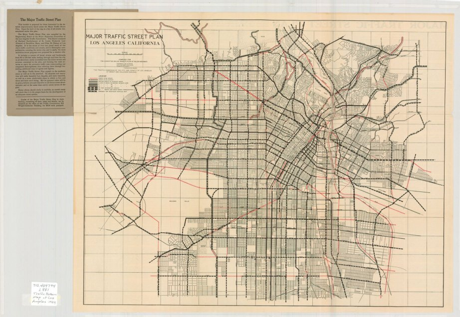 "Frederick Law Olmstead, alongside Harland Bartholemew and Charles Henry Cheney drew up this ""Major Traffic Street Plan"" map in hopes of infusing an aesthetic component to the functional necessity of traffic infrastructure."