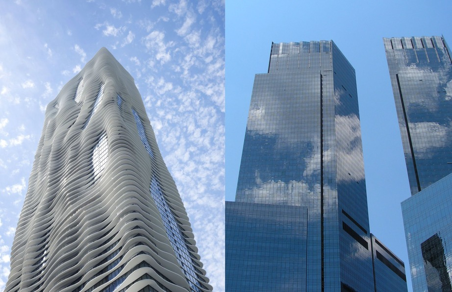 The building on the left is an example of bird-friendly architecture, vs. the traditional highly reflective skyscraper responsible for many bird deaths.