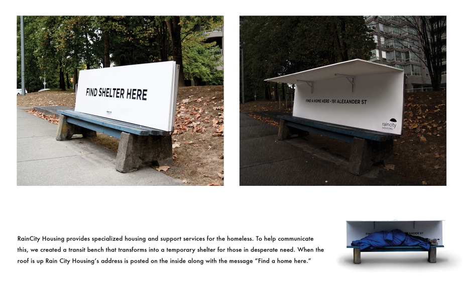 A bench shelter by the Vancouver nonprofit group RainCity Housing.