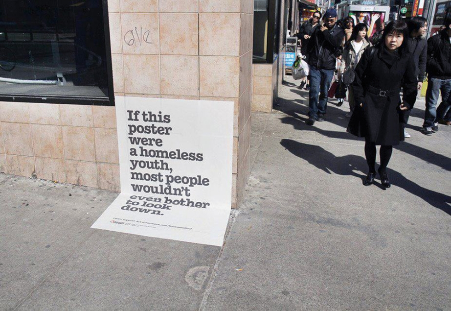 A poster designed to spread awareness of the urban homeless population by Seattle-based, Peace for the Streets by Kids from the Streets.