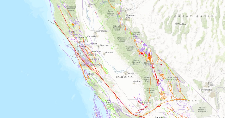 A map of fault activity across California.