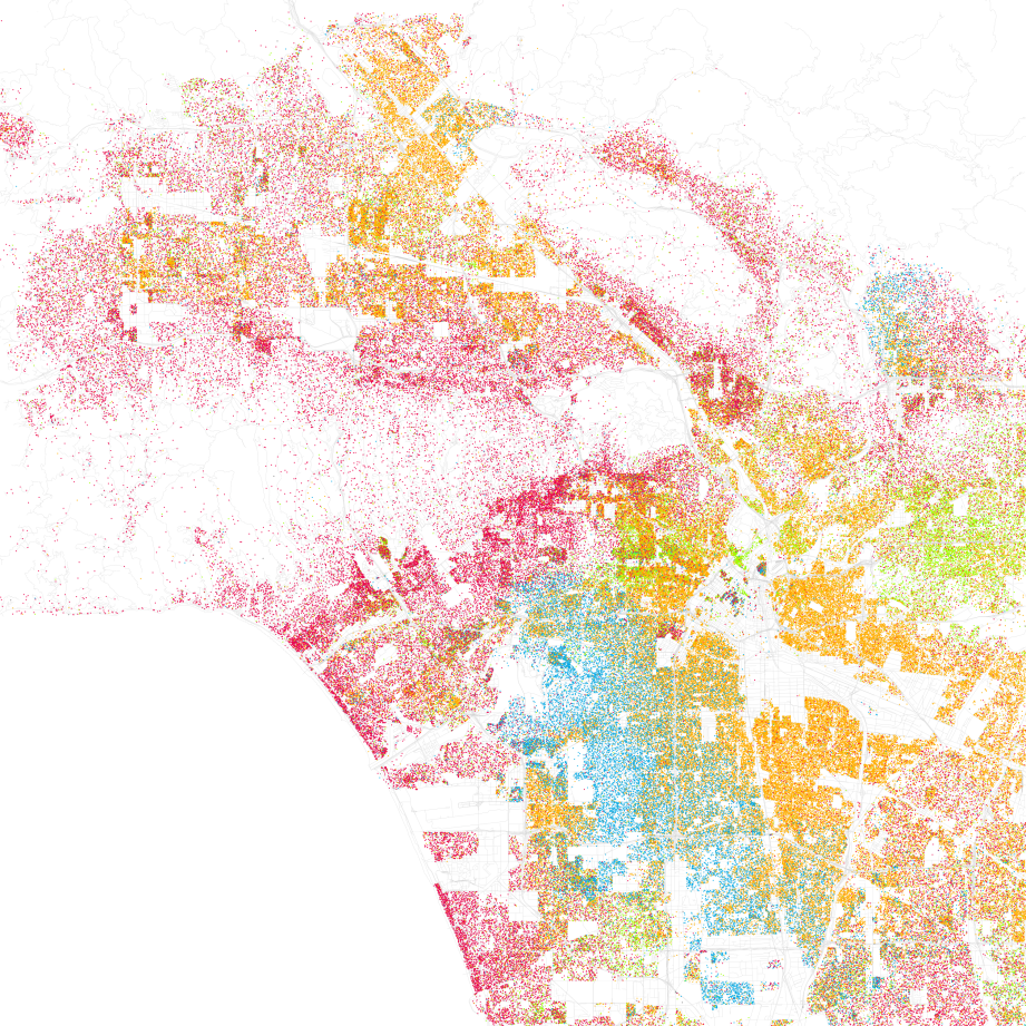 Race and ethnicity: Los Angeles. Red: Caucasians, Blue: African Americans, Green: Asian Americans, Orange : Latinos. Gray: Other. Each dot equals 25 people. Data from Census 2000. Base map © OpenStreetMap, Graphic by Eric Fischer CC-BY-SA