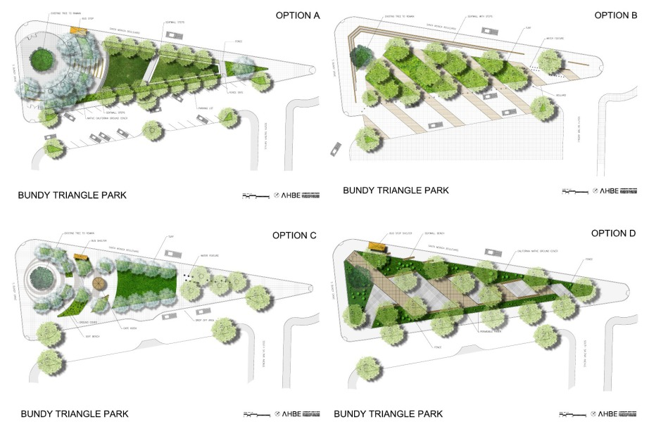 It was back in 2011 when AHBE Landscape Architects shared  conceptual renderings of a reopened Bundy Triangle Park.