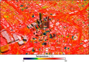 Thermal imaging capturing temperature distribution, with blue showing cool temperatures, red warm, and hot areas appear white. CC image obtained from NASA Earth Observatory webpage.