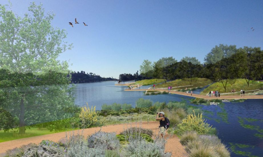 The organization Silver Lake Forward envisions the Silver Lake Reservoir as a public space celebrating access, native flora and fauna, and conservation. Image via Silver Lake Forward