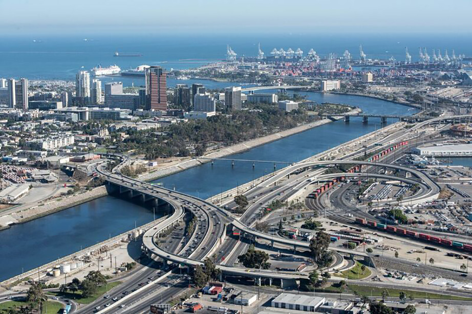 Ports of Long Beach and Los Angeles, where the mouth of the Los Angeles River meets the Pacific. All photos by Calvin Abe