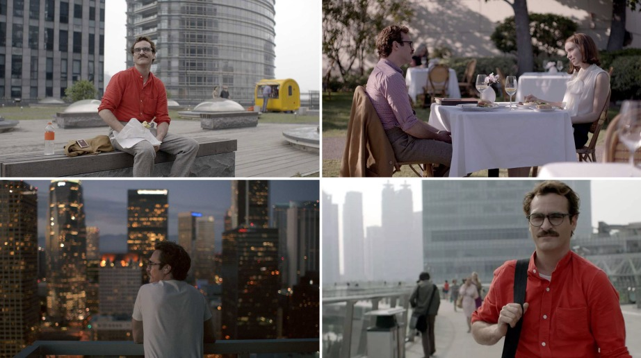 Los Angeles as portrayed in the 2013 movie Her was actually a combination of real world locations in LA and Shanghai's Pudong business district. Stills via via Warner Bros. Pictures