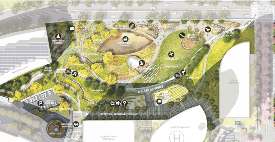 MLK Medical Center Campus master plan. Image: AHBE Landscape Architecture