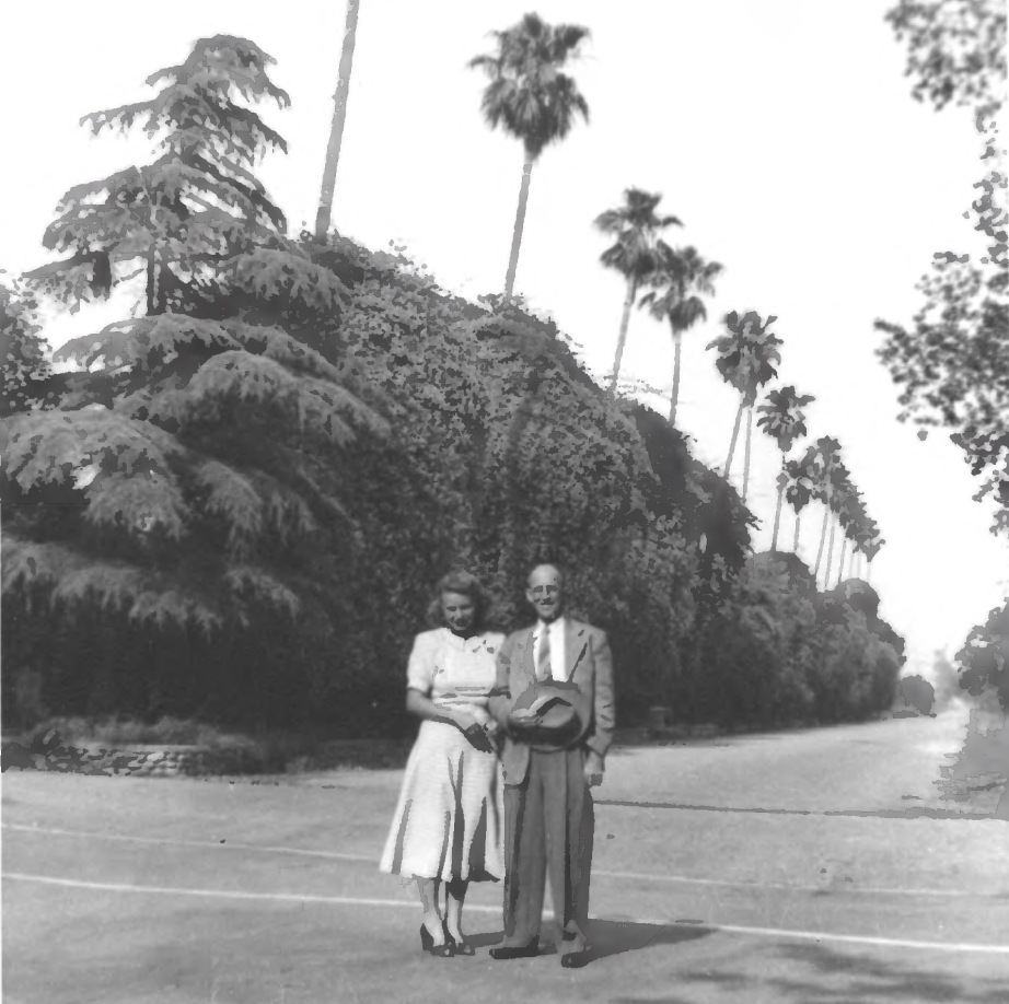 Dr. Lloyd Pittman and his wife Doris in front of Bougainvillea (1952). Photo: Bougainvillea, National Register of Historic Places NPGallery