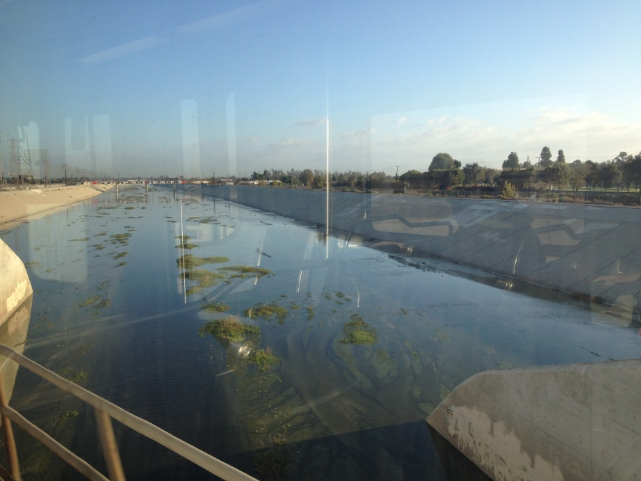 Lower Los Angeles River with emergent tiny-island-ecosystems. Photo: Jennifer Zell
