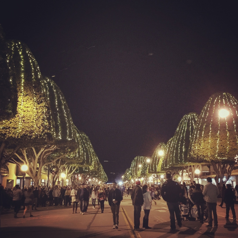 Gumdrop trees lit up for the annual Holiday Stroll on Glendora Avenue in Glendora