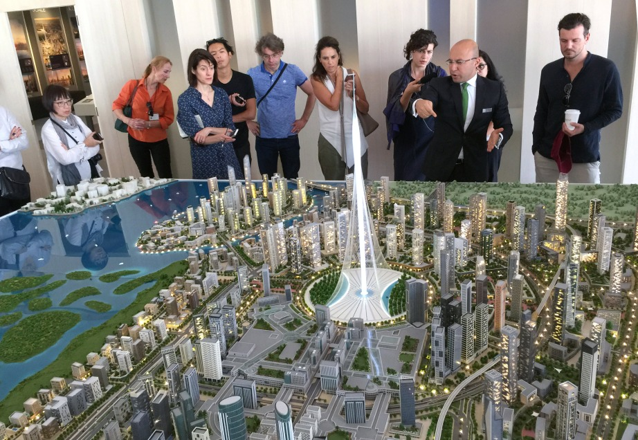 A scale model of Dubai Creek Harbour, currently being constructed. Upon completion, the development will be three times the size of Downtown Dubai and include the world's tallest twin towers, alongside eight million square feet of retail space, 39,000 residential units, 3,664 office units, and 22 hotels with 4,400 rooms.