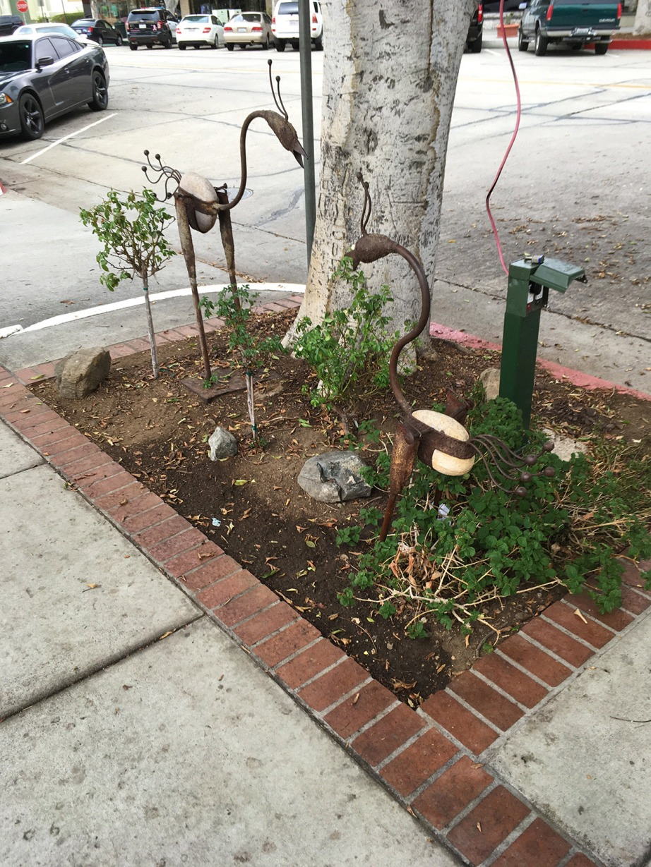 Tree well on Glendora Avenue in Glendora, filled with mulch, art, and a few small plants.