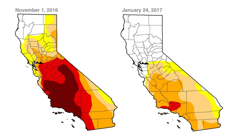 A comparison of drought conditions across the state of California created using data from the United States Drought Monitor shows the significant attenuation of drought conditions after this winter's flurry of storms.
