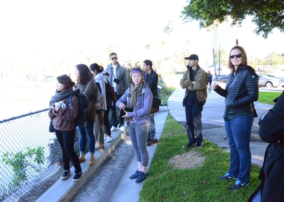 Students look out at the Golden Shore Marine Reserve
