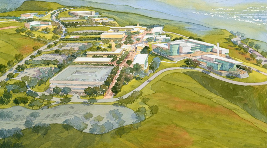 An artistic rendition of the Crafton Hills College. By AHBE Landscape Architects.
