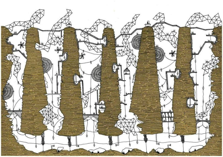 Italo Calvino's 'Invisible Cities', Illustrated Isaura. Image © Karina Puente Frantzen