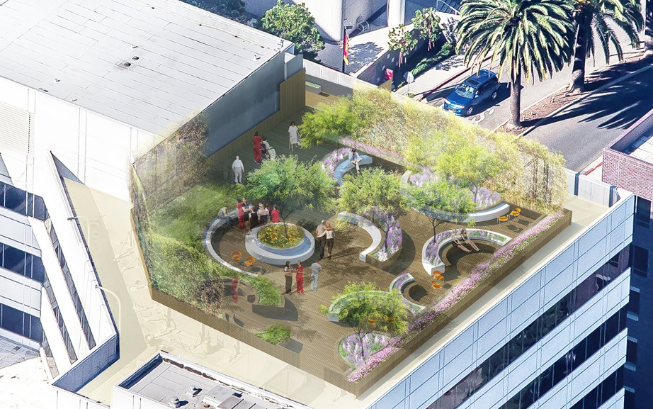 Render of the Keck Medical Center of USC. By AHBE Landscape Architects.