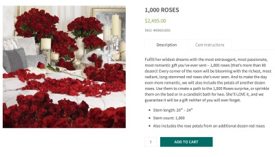 Anyone looking for 1,000 roses for Valentine's Day? They can all be yours for $2,495.